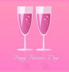 two glasses of champagne for saint valentines day vector image