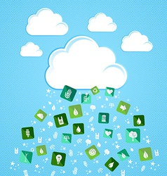 Cloud computing eco friendly icons vector