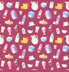 Milk everyday products food and milky dairy drinks vector