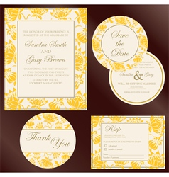 Wedding cards yellow copy vector