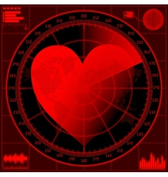 Vilentine concept radar screen with red heart vector