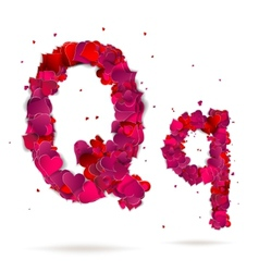 Letter q made from hearts Love alphabet vector image