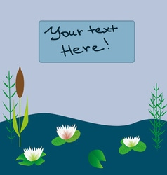 Lake boat plants cartoon vector