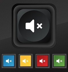 Mute speaker sound icon symbol set of five vector