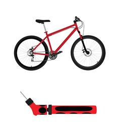 Bicycle and hand pump vector