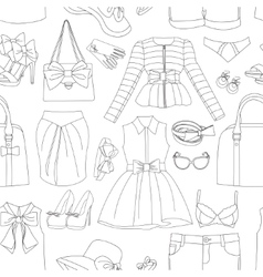 Ladies clothing and accessories pattern vector