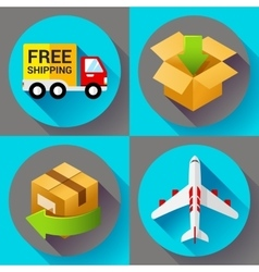 Shipping and delivery icons set flat design style vector