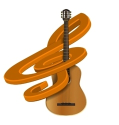 Treble clef with guitar vector