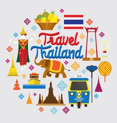 Thailand landmark objects icons label vector