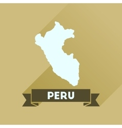 Flat icon with long shadow peru map vector