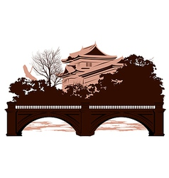 Postcard with Japanese houses vector image