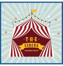 Striped tent icon circus and carnival design vector