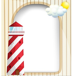 A lighthouse in front of an empty template vector image vector image
