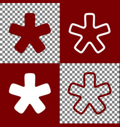 Asterisk star sign bordo and white icons vector
