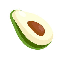 Avocado half with big seed isolated on white vector