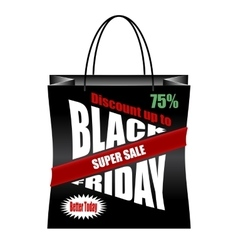 Black Friday paper shopping bag vector image