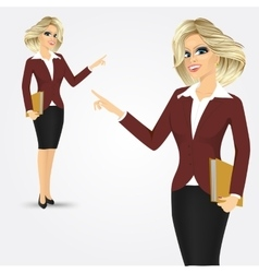 blonde businesswoman pointing vector image vector image