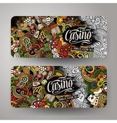 Cartoon doodles casino banners vector image vector image