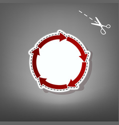 Circular arrows sign red icon with for vector
