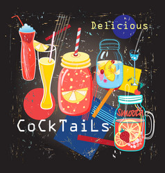 delicious sweet colorful colorful cocktails vector image vector image