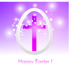 Easter egg with cross on pink background with glow vector