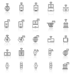 Fintech line icons with reflect on white vector