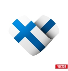 Flag icon in the form of heart I love Finland vector image