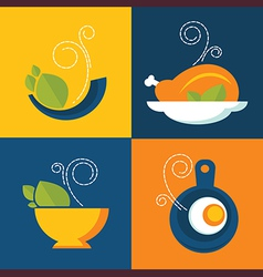 flat food icons vector image vector image