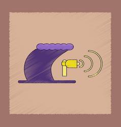 Flat shading style icon tsunami loudspeaker vector