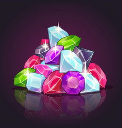 gems pile cartoon vector image vector image