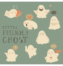 Ghosts emoticon halloween set vector image vector image