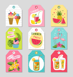 gift tags with summer tropical decoration vector image vector image