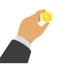 hand with a gold coin vector image