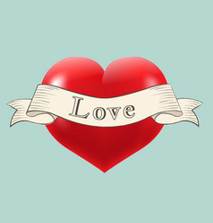 Heart with retro ribbon vector