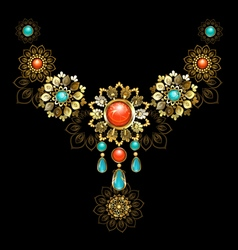 Jewelry with Turquoise and Jasper vector image vector image
