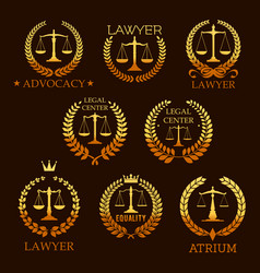 lawyer golden emblem set with scale of justice vector image