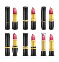 lipstick set black and golden tubes vector image