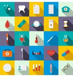 Medicine equipment icons set flat style vector