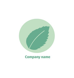Mint logo for company isolated mint leaves on vector