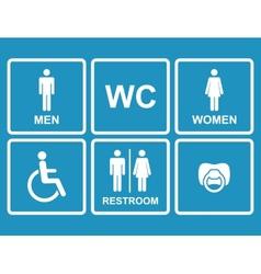 restroom iconsmenwomen lady man baby dummy vector image