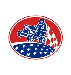 Ride on lawn mower racing retro vector