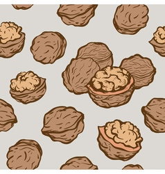 Seamless background with sketch nuts vector image vector image