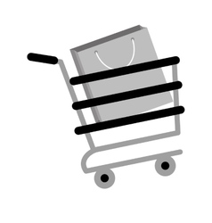 Shopping cart online papper bag gift gray color vector