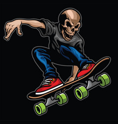 skull riding skateboard and doing the stunt vector image