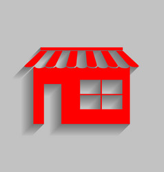 store sign red icon with vector image
