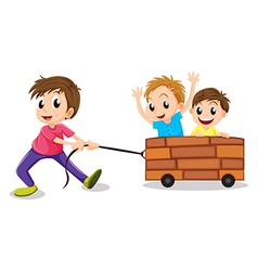 Three boys playing vector image