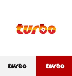 Turbo word text logo with turbine charger fan vector