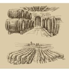 vineyard doodle vector image vector image