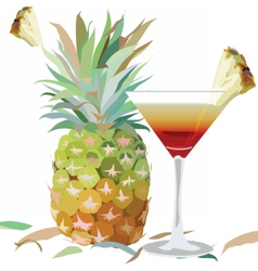 Watercolor pineapple and cosmopolitan glass vector