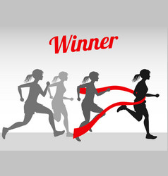 Winner concept with female running vector